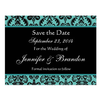 Black and White Teal Heart Damask Save the Date B1 Postcard