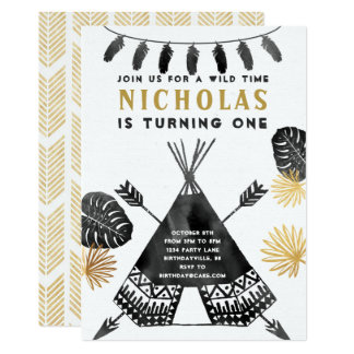 Black and White Teepee Birthday Invitation
