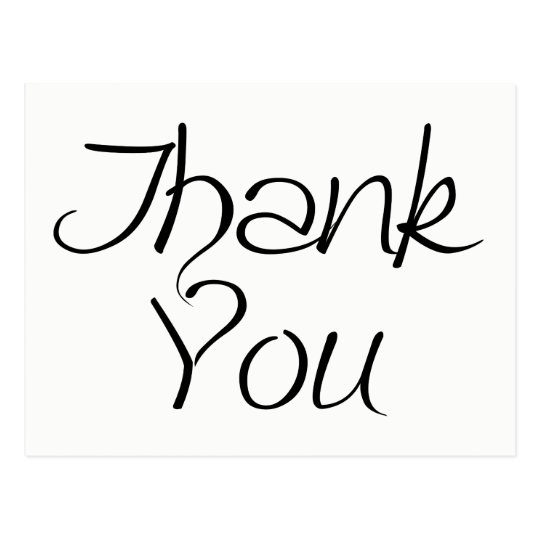 Black And White Thank you Calligraphy Postcard