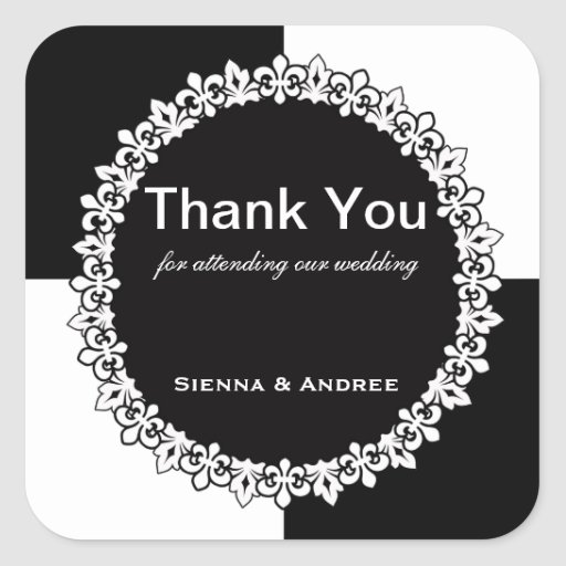 Black and White Thank You Square Stickers
