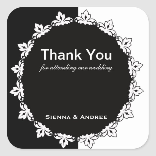 Black and White Thank You Square Sticker