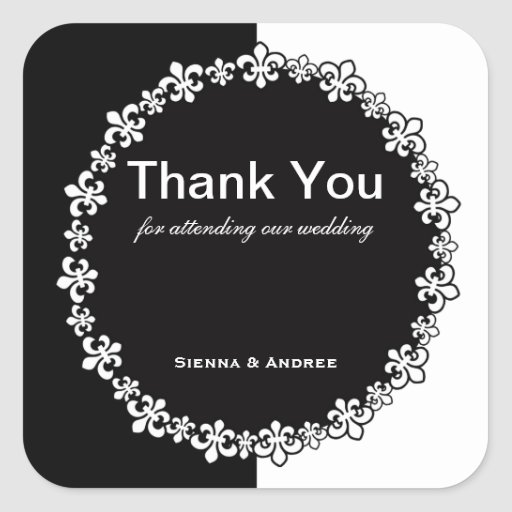 Black and White Thank You Sticker