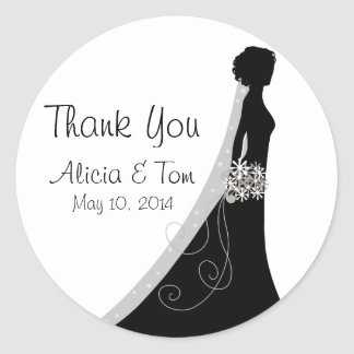 Black and White Thank You Wedding Stickers
