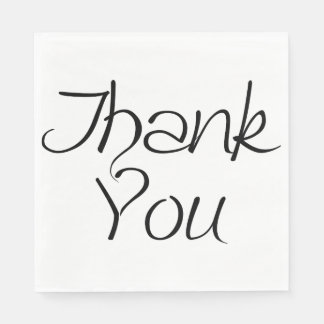 Black And White Thank You With Red Hearts - Weddin Paper Napkin