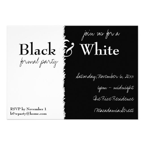 Black and White Theme Party Invitation 13 Cm X 18 Cm ...