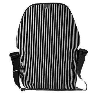 Black and White Thin Striped Messenger Bag