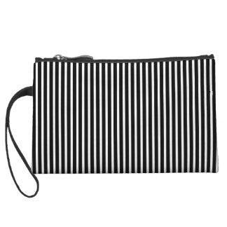 Black and White Thin Striped Wristlet