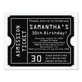Black and White Ticket Invitation, Digital Style 11 Cm X 14 Cm Invitation Card