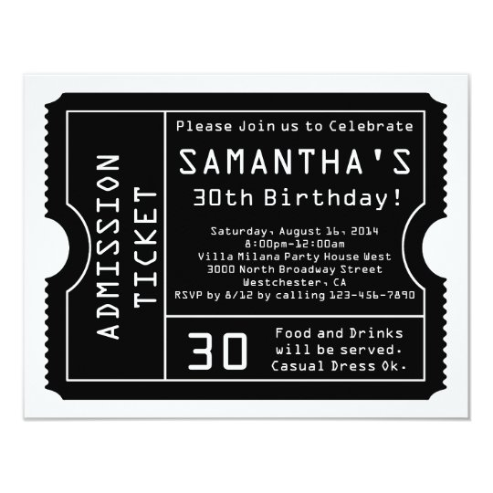 Black and White Ticket Invitation, Digital Style Card