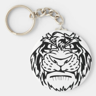 Black and white tiger basic round button key ring