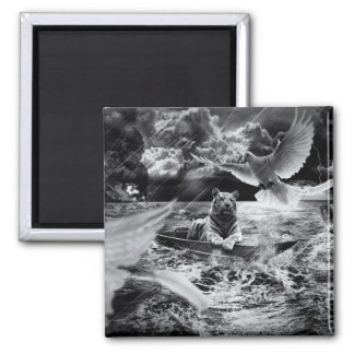 Black and White Tiger Boat Sailing Skylight Magnet