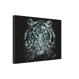 Black and white tiger drawing on box canvas