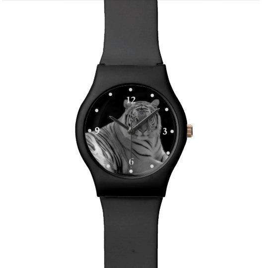 Black and White Tiger Photo Wrist Watch