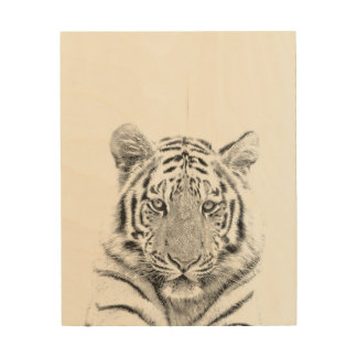 Black and White Tiger Portrait Wood Wall Decor