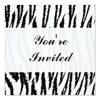 Black and White Tiger Print. Tiger Pattern. 13 Cm X 13 Cm Square Invitation Card