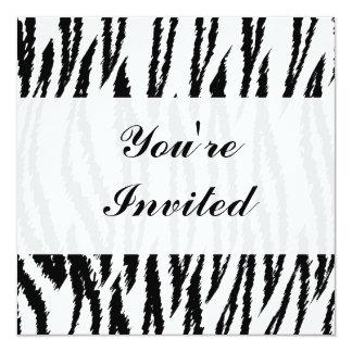 Black and White Tiger Print. Tiger Pattern. 13 Cm X 13 Cm Square Invitation Card