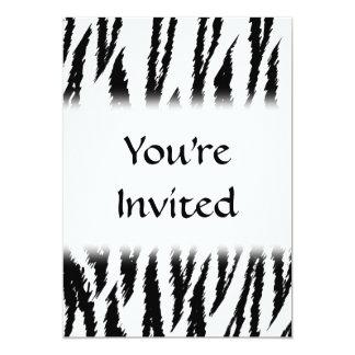 Black and White Tiger Print. Tiger Pattern. 13 Cm X 18 Cm Invitation Card