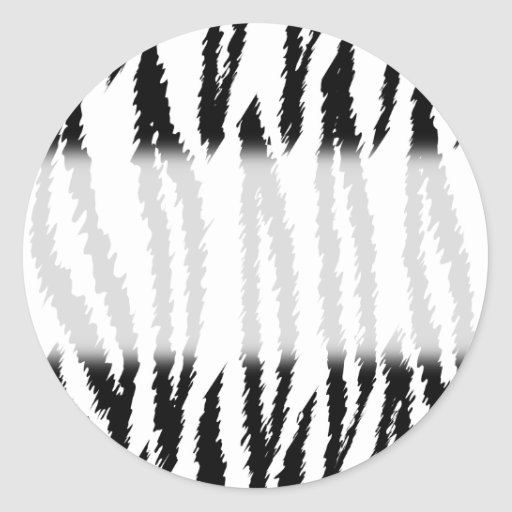 Black and White Tiger Print. Tiger Pattern. Round Sticker
