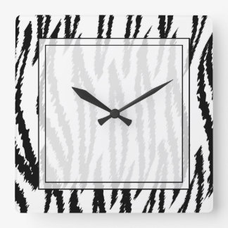 Black and White Tiger Print. Tiger Pattern. Square Wall Clock