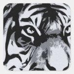 black and White Tiger Square Sticker