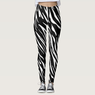 Black and White Tiger Stripe Leggings