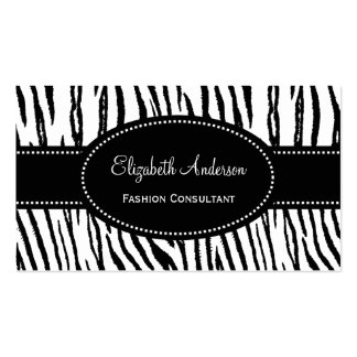 Black and White Tiger Stripes Custom Background Business Card Templates