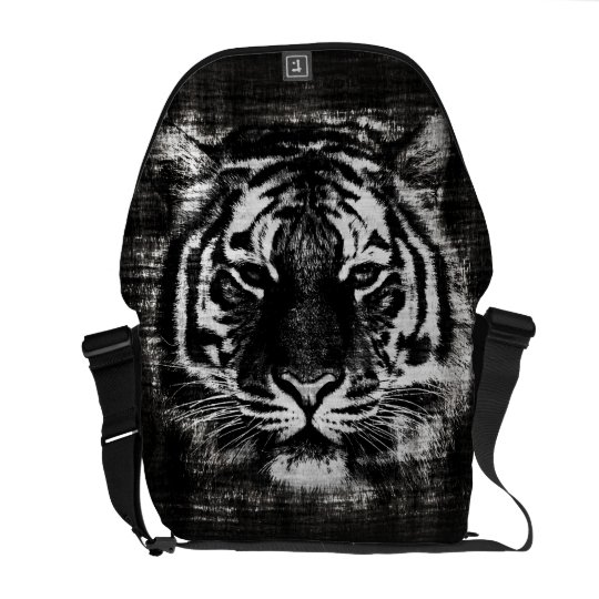 Black and White Tiger Vintage Messenger Bags
