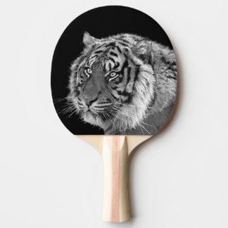 Black and white tiger wild animal photo ping pong paddle
