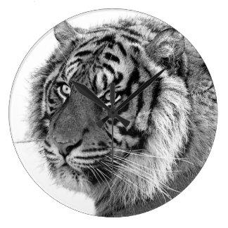 Black and white tiger wild jungle animal photo large clock