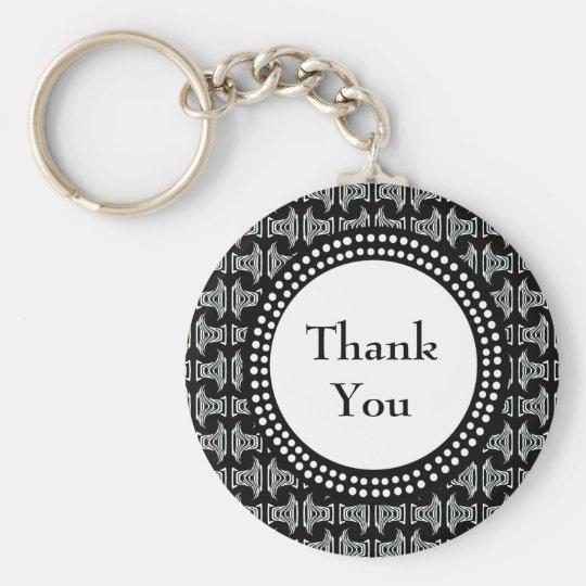 Black and White Tiki Pattern Thank You Key Ring