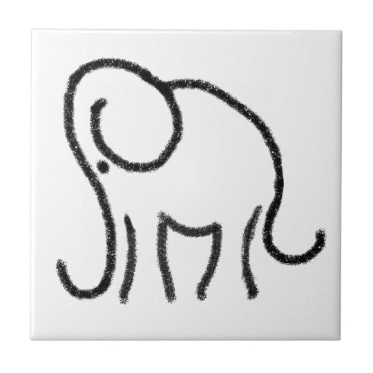 Black and white tile with stylised elephant emblem