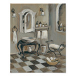 Black and White Tiled French Bathroom Poster