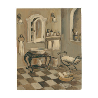 Black and White Tiled French Bathroom Wood Wall Decor