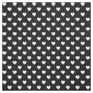 Black and White Tiny Heart Pattern Fabric