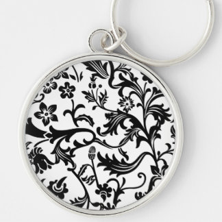 Black and White Toile Premium Keychain