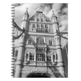 Black and White Tower Bridge Vintage London Spiral Notebook