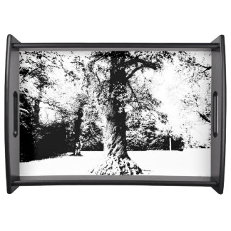 Black and White Tree Landscape Serving Tray