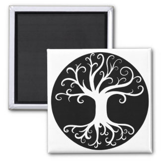 Black and White Tree of Life Square Magnet