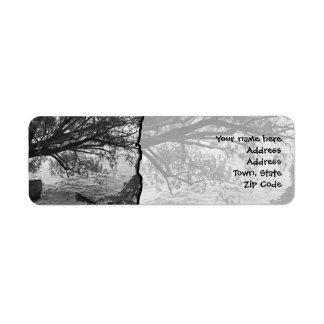 Black and White Tree Silhouette Return Address Label