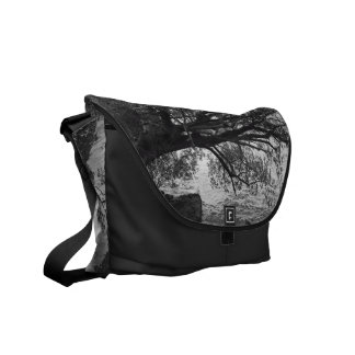 Black and White Tree Silhouette Messenger Bags