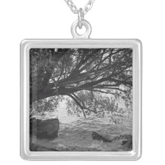 Black and White Tree Silhouette Necklaces