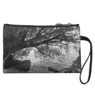 Black and White Tree Silhouette Wristlet Purse