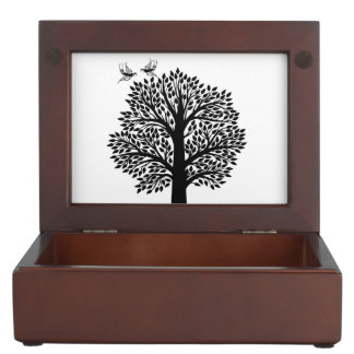 Black and white tree with martin birds keepsake box