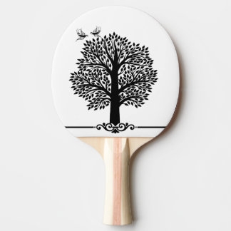 Black and white tree with martin birds ping pong paddle