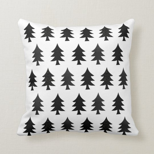 Black and White Trees Scandinavian Style Christmas Cushion