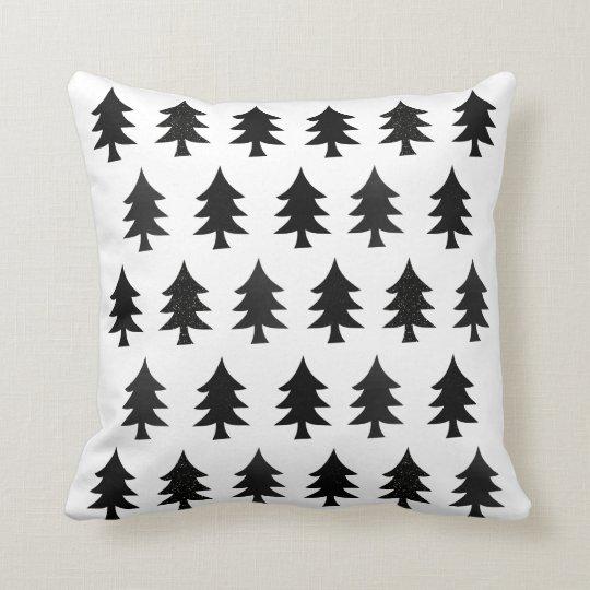 Black and White Trees Scandinavian Style Christmas Throw