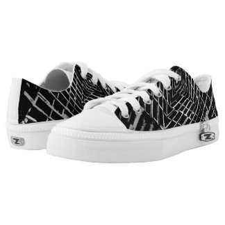 Black and White Trendy Abstract Netting Pattern Printed Shoes