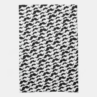 Black and white trendy funny mustache pattern tea towel