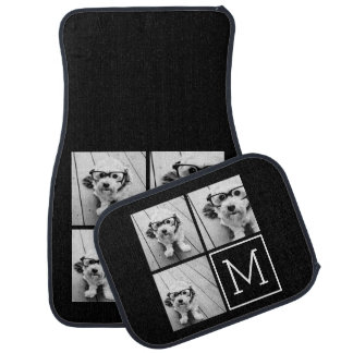 Black and White Trendy Photo Collage with Monogram Car Mat