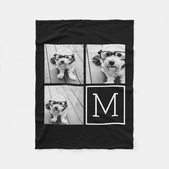 Black and White Trendy Photo Collage with Monogram